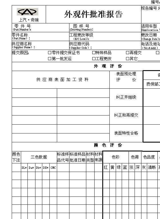 外观件批准报告表格(doc模板)