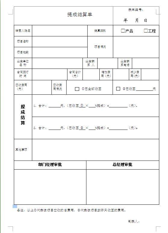 提成结算单模板.doc