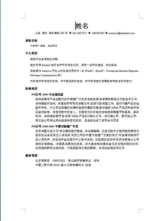 市场推广总监简历模板.doc