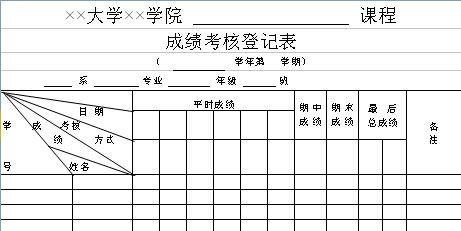 成绩考核登记表模板.xls